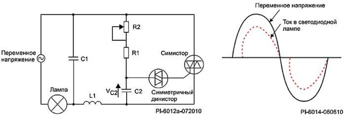 Схема простого симисторного диммера