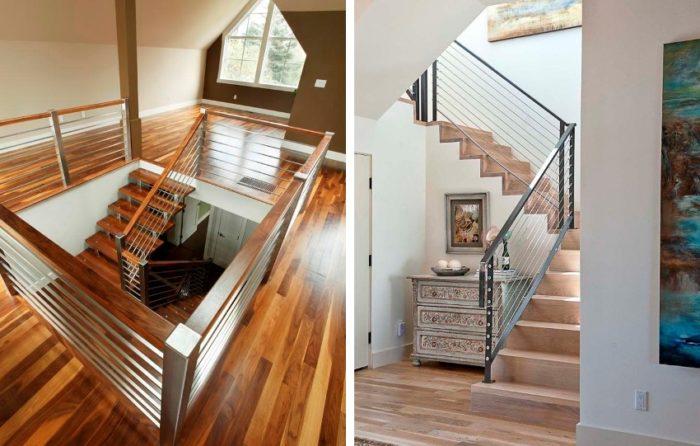 Для ограждения лестниц использованы перила из нержавеющей стали с квадратным сечением