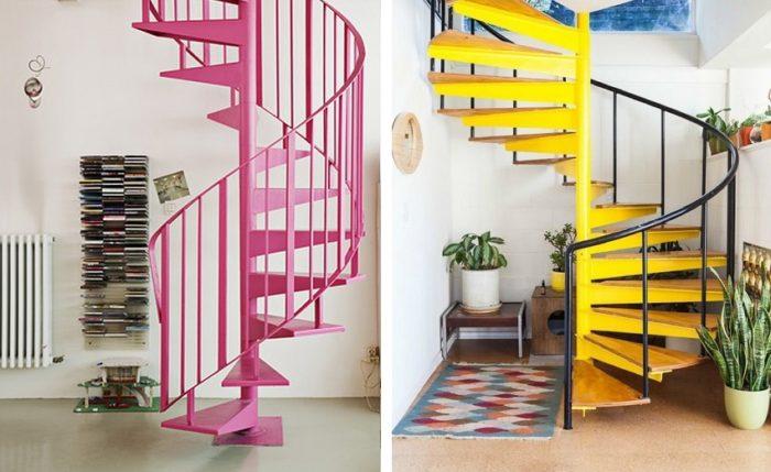 Винтовые металлические лестницы, окрашенные в яркие цвета