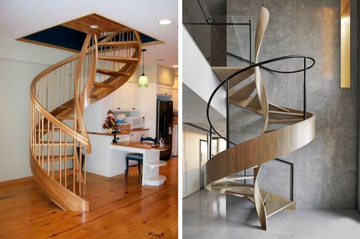 Деревянные винтовые лестницы на гнутых тетивах