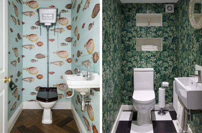Стены туалета оклеены влагостойкими обоями