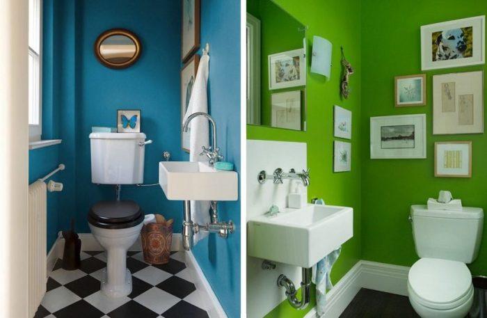Хорошо выглядят стены туалета, окрашенные в яркие цвета