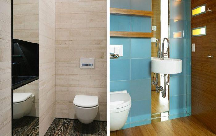 Зеркальные вставки расширяют пространство туалета