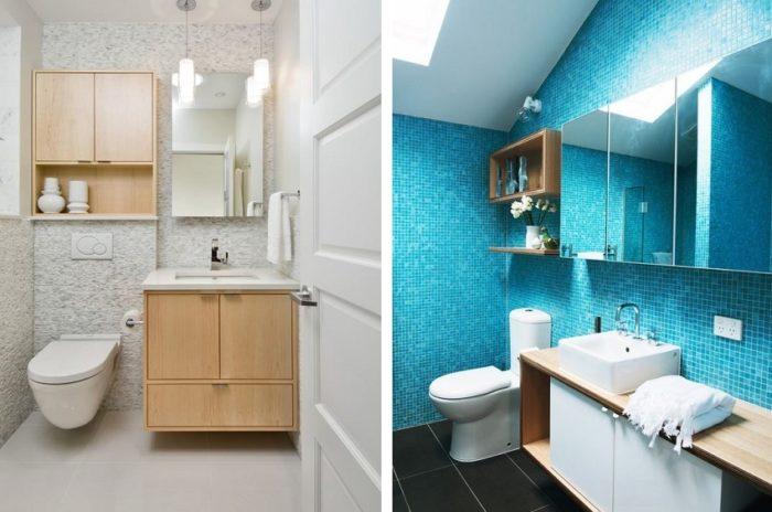Шкафчики с зеркальными дверцами функциональны и визуально увеличивают пространство маленького санузла