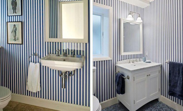 Для помещений с низкими потолками хорошо использовать в оформлении стен рисунок с вертикальными полосками