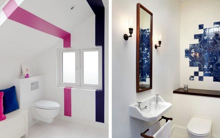 Яркие цветные вставки оживят комнату, окрашенную в белый цвет