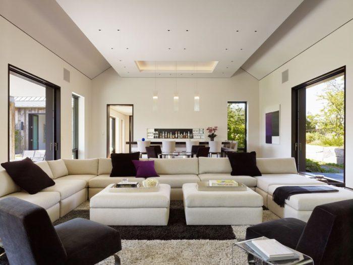 Двухуровневый потолок с точечной подсветкой