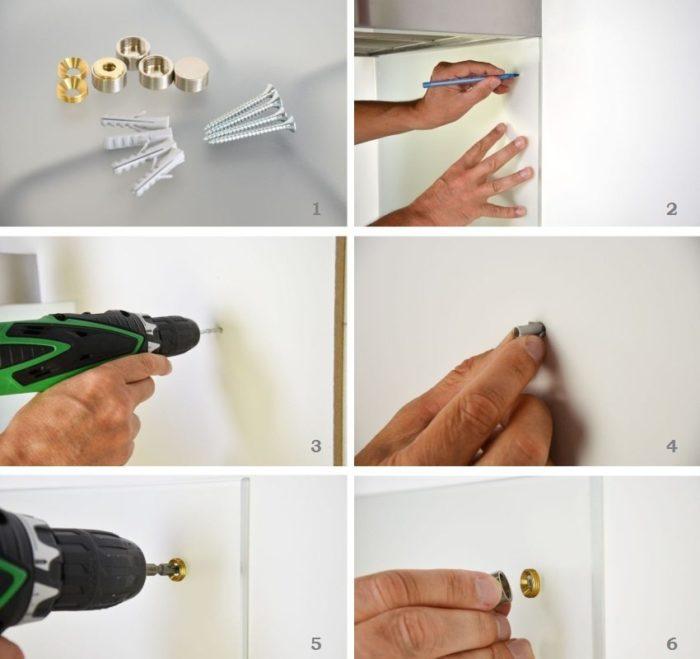Этапы крепления стеклянного фартука с помощью шурупов