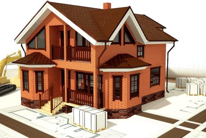 3D-проект строительства двухэтажного коттеджа из красного кирпича