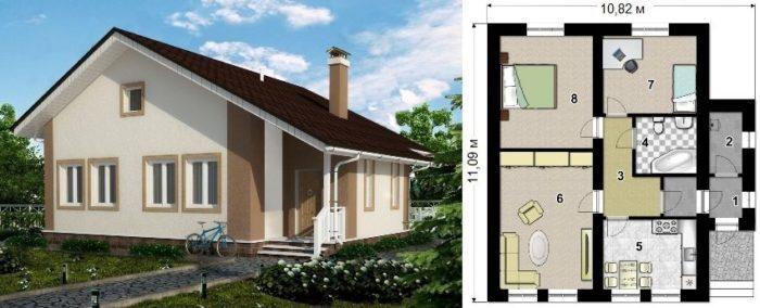 Проект каркасного дома площадью 82 кв.м