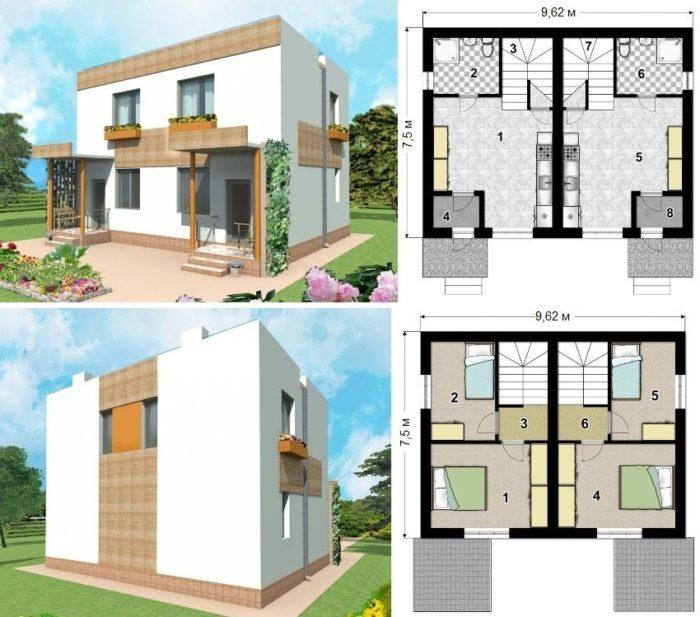 Проект двухэтажного каркасного дома на 2 квартиры площадью 103 кв.м.