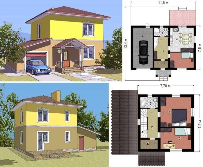 Проект двухэтажного каркасного дома с гаражом площадью 112 кв.м.