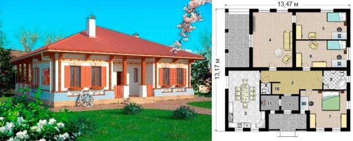 Проект каркасного дома площадью 122 кв.м