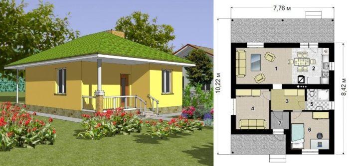 Проект каркасного дома площадью 49,3 кв.м