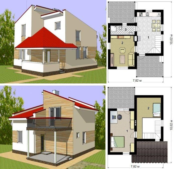 Проект двухэтажного каркасного дома площадью 67 кв.м.