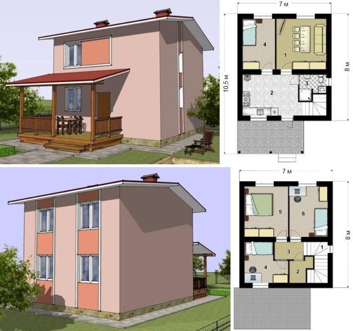 Проект двухэтажного каркасного дома площадью 81 кв.м.