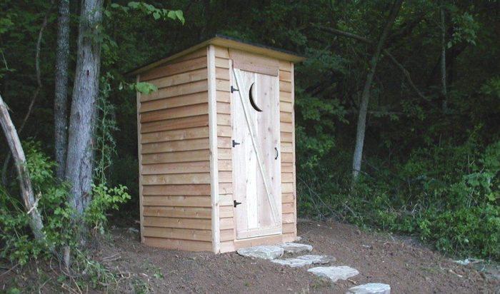 Деревянный туалет расположен под высокими деревьями
