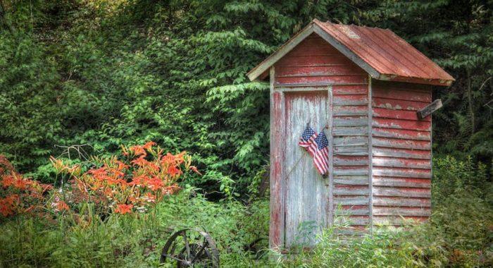 Деревянный туалет в окружении зелени и цветов