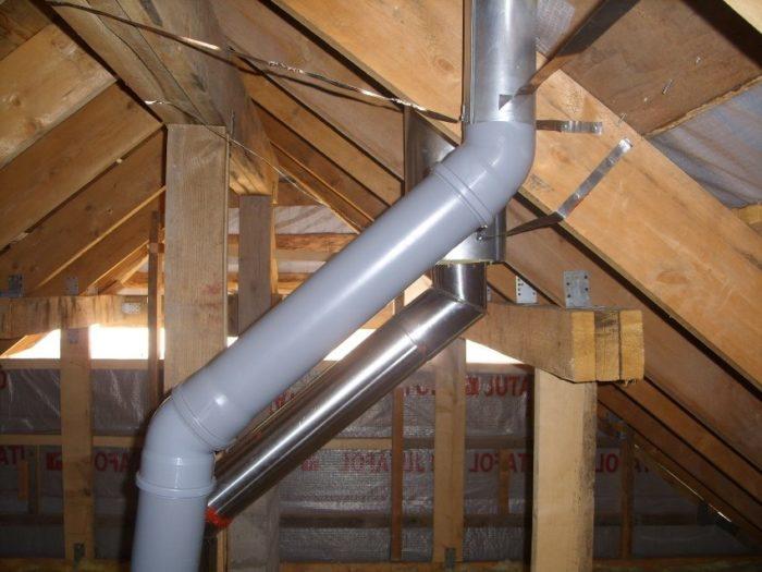 Воздуховод в частном доме обустроен из канализационных труб