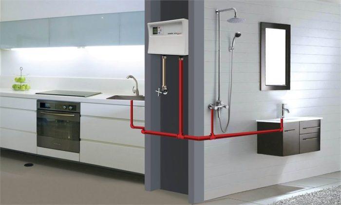Пример разводки подающих труб от водонагревателя к потребителям