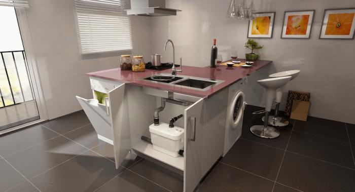 Насос для повышения давления воды в квартире можно легко спрятать в шкафу