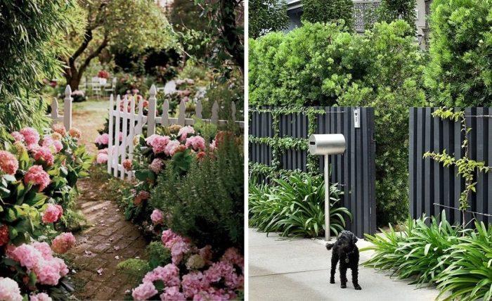 Деревянный забор можно сделать еще красивее с помощью цветов и зеленых насаждений