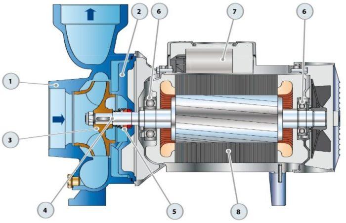 Строение поверхностного одноступенчатого насоса: 1 — корпус, 2 — крышка, 3 — рабочее колесо, 4 — ведущий вал, 5 — механическое уплотнение, 6 — подшипники, 7 — конденсатор, 8 — электродвигатель
