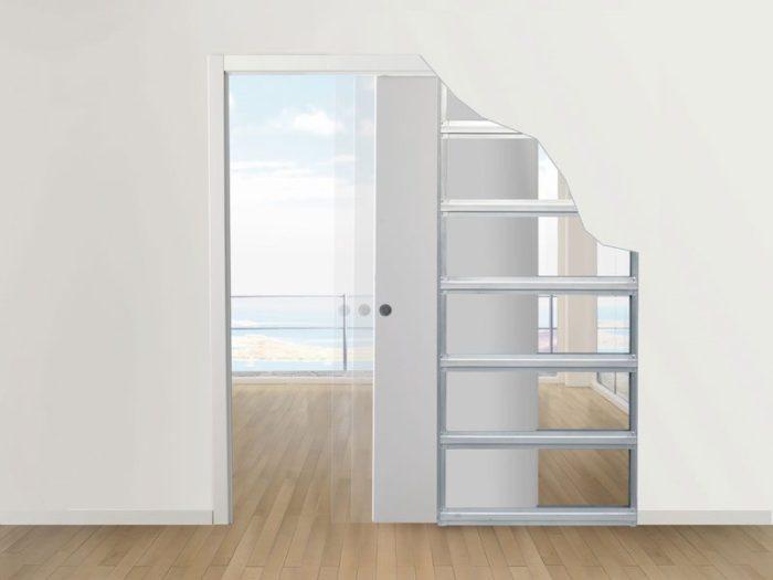 Схематическое изображение расположения дверного полотна внутристеновой перегородки из гипсокартона