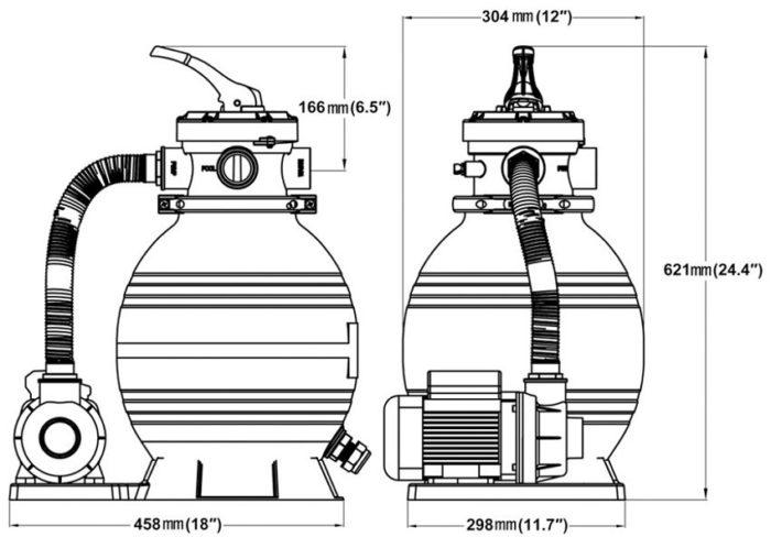 Стандартные размеры песчаного фильтра для бассейна