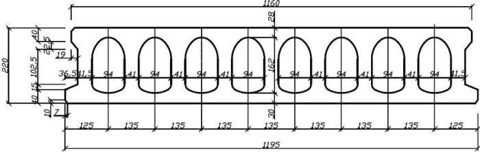 Схематическое изображение размеров пустотной плиты перекрытия