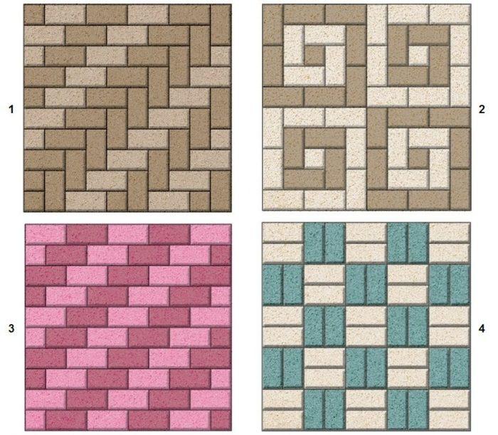 Примеры простых схем укладки тротуарной плитки: 1 — елочка, 2 — спираль, 3 — лесенка, 4 — шахматка